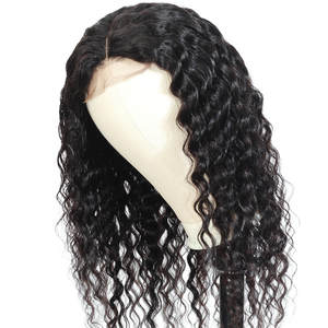 BUGUQI Wigs Human-Hair-Wigs Lace-Frontal Deep-Wave Glueless Non-Remy-Hair Natural-Color