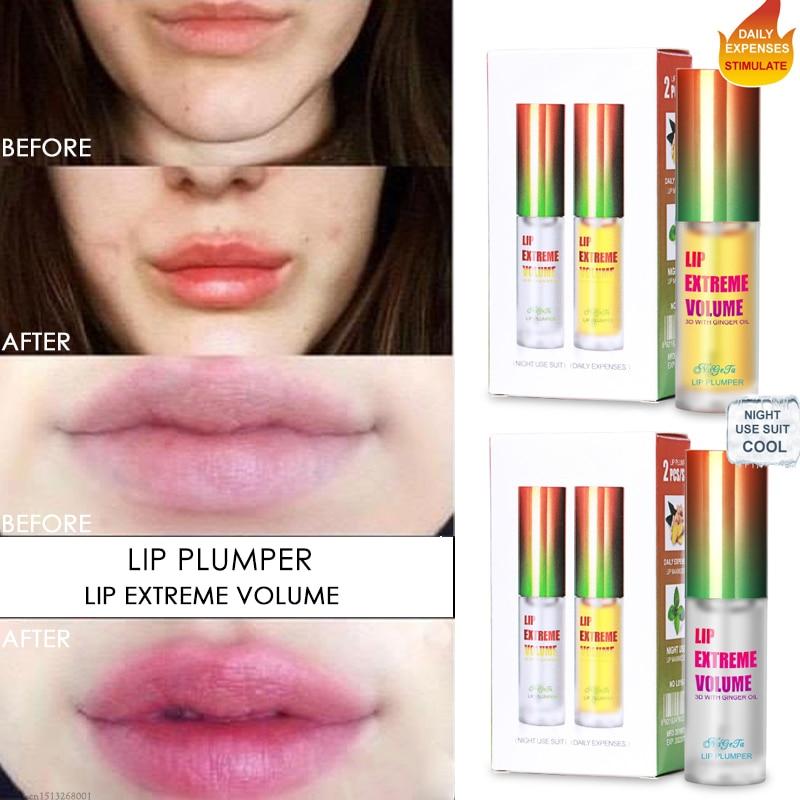Instant Volumising Lip Plump Oil Lip Gloss Moisturizing Repair Lip Extreme Volume Lip Plumper Refine Lip Wrinkle Ginger Oil