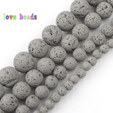 цена 4/6/8/10mm Natural Grey Hematite Lava Stone Round Beads Spacer Loose Matte Beads For Jewelry Making Diy Bracelet Necklace 15