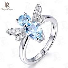 Bague Ringen nuevos vendedores 925 anillo de joyería de dedo de plata temperamento Topacio libélula Animal apertura ajustable adorable lindo