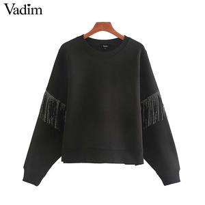 Image 1 - Vadim femmes mode glands conception noir sweat à manches longues O cou pulls femme basique confortable solide hauts HA588