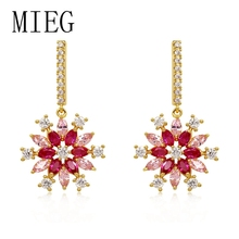 MIEG New Arrival Cubic Zirconia CZ Crystal Sparkling Flower Dangle Earrings for Women Bride or Bridesmaid