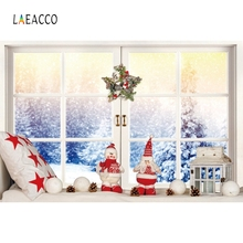 Laeacco Winter Windows Photography Backdrops Customized Merry Christmas Decor Portrait Photographic Backgrounds For Photo Studio polyester merry christmas room gifts photography backdrops for party photo studio portrait backgrounds props s 2626