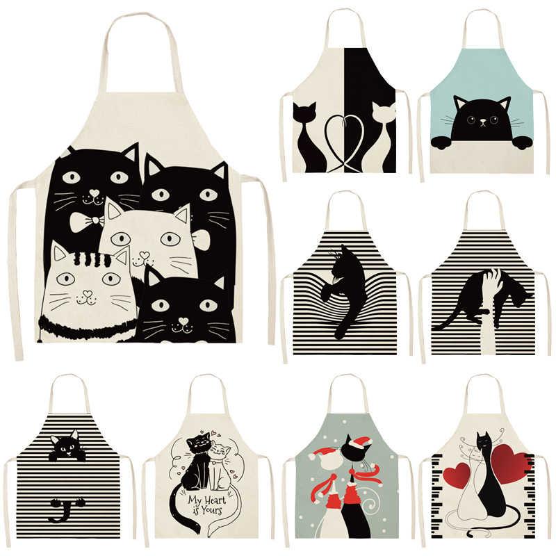 Women Cotton Linen Bibs Kitchen Apron Cartoon Cat Pattern Cleaning Kitchen Home