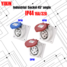 цена на Industrial Socket Angle 45° 16A 32A 63A 3 pin 4 pin 5 pin ip67 Panel Mounted Socket Waterproof 220V 380V 415V