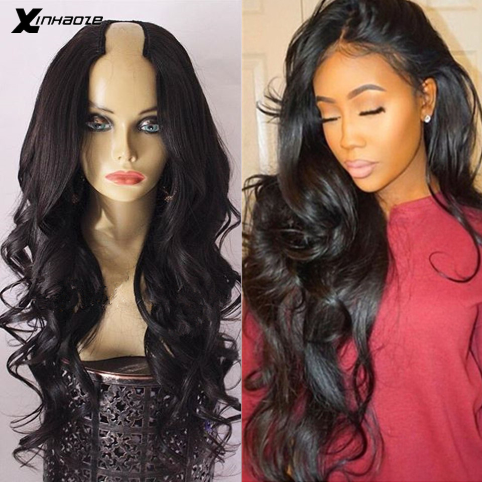 Glueless Body Wave U Part Wigs 100% Human Hair U Opening Space 2*4 Brazilian Remy Hair Middle Part Wig For Black Women