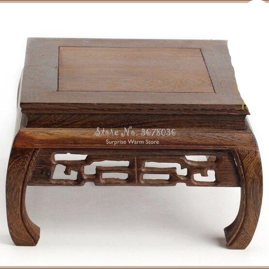 Mesa de té de madera maciza palo de rosa tallado Base florero Buda Kistler expositor Multi-uso rectangular pequeña mesa de centro