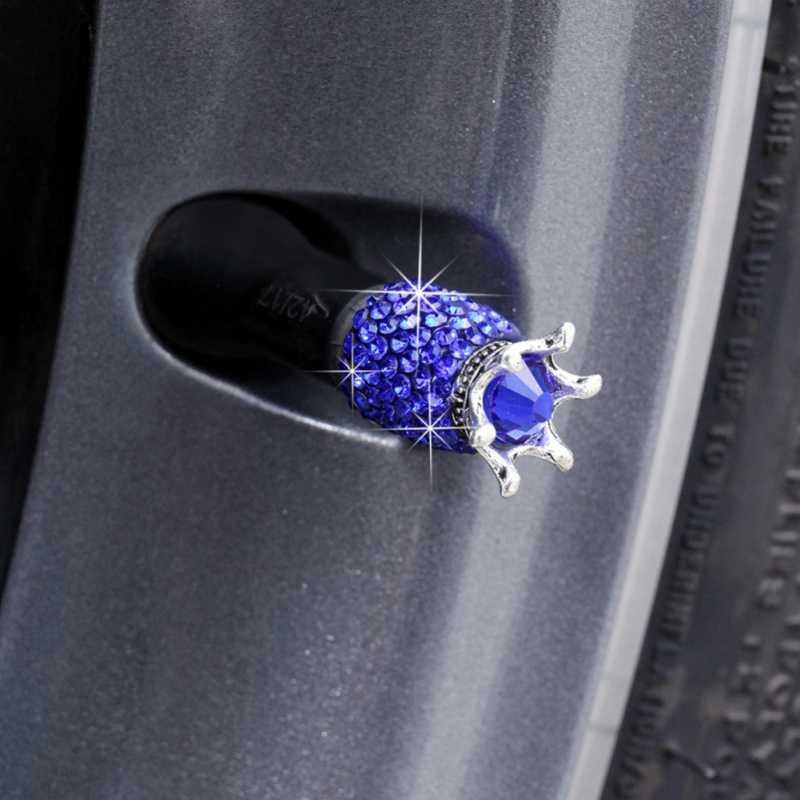 4pcs รถอุปกรณ์เสริมมงกุฎคริสตัลหมวกวาล์วล้อรถบรรทุก Rhinestones Clay ABS ไฟแช็กปลอดภัย