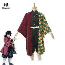 ROLECOS Anime Demon Slayer Cosplay Costumes Tomioka Giyuu Costume Halloween Men Kimetsu No Yaiba Uniform Cloak