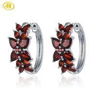 Hutang 7.19ct Garnet Women's Clip Earrings Solid 925 Sterling Silver Natural Red Gemstone Fine Elegant Jewelry New Arrival Gift