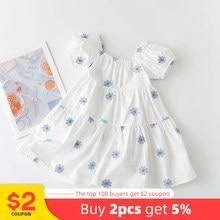 Melario meninas roupas de verão vestido manga curta algodão casual vestidos de princesa para o bebê da menina crianças vestido impressão flor