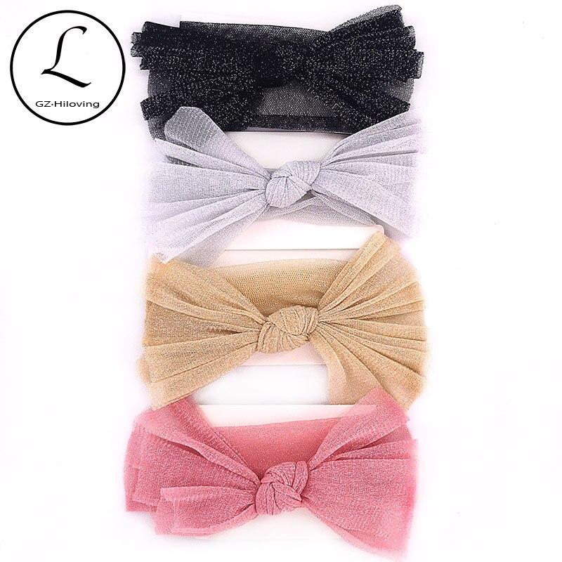 Soft Gold Silver Yarn Headbands Head Wrap For Newborn Baby Girls Cute Big Bow Princess Headwear Hair Accessories New Born Gifts