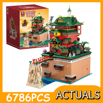 MOC City Streetview Series Oil House Soup Hot Springs Hall Hotel Building Blocks Bricks Architecture Model Toys Kids Gifts - discount item  40% OFF Building & Construction Toys