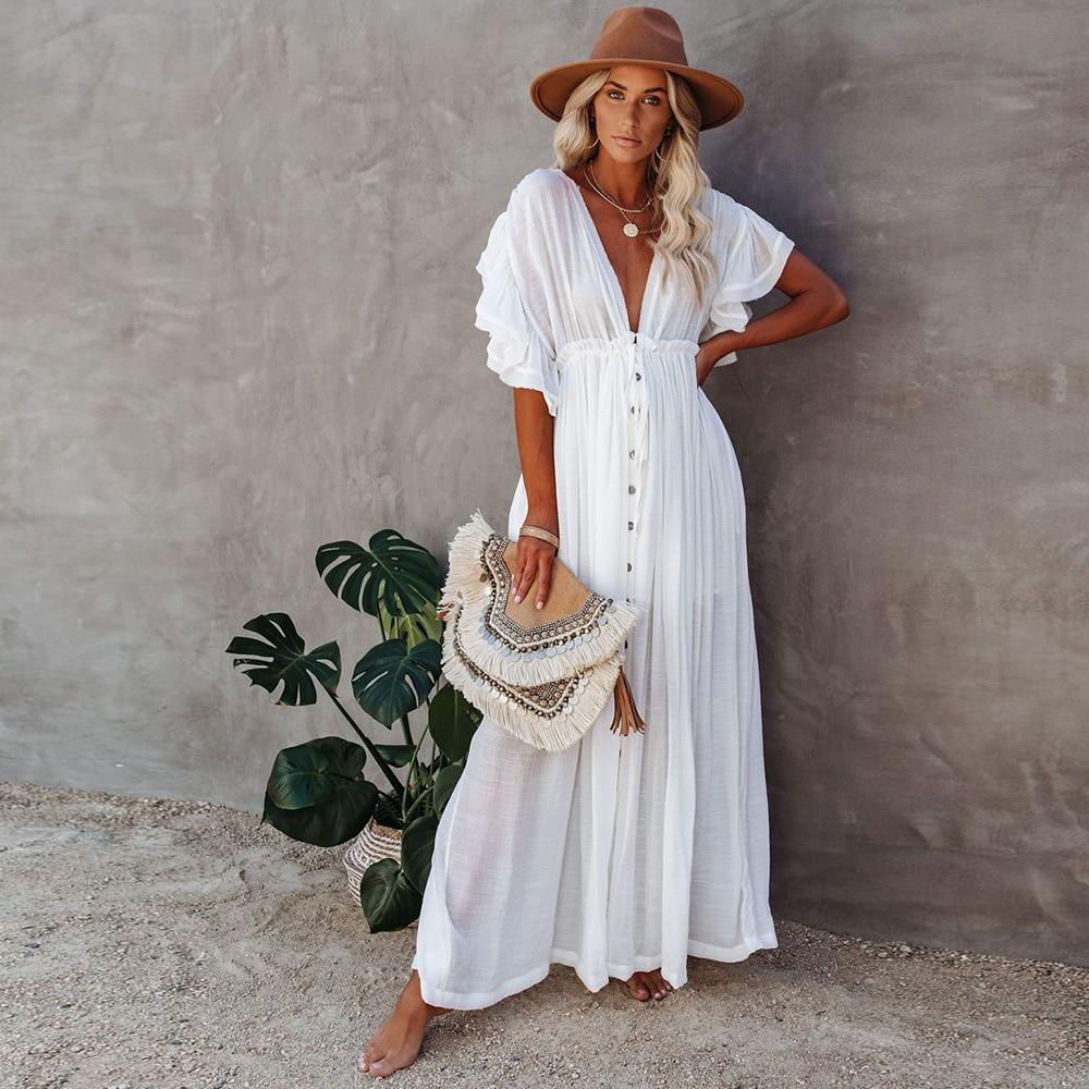 Женский купальник, накидки, кафтан с рукавами-мандаринами, Пляжная туника, однотонное белое парео, пляжные накидки