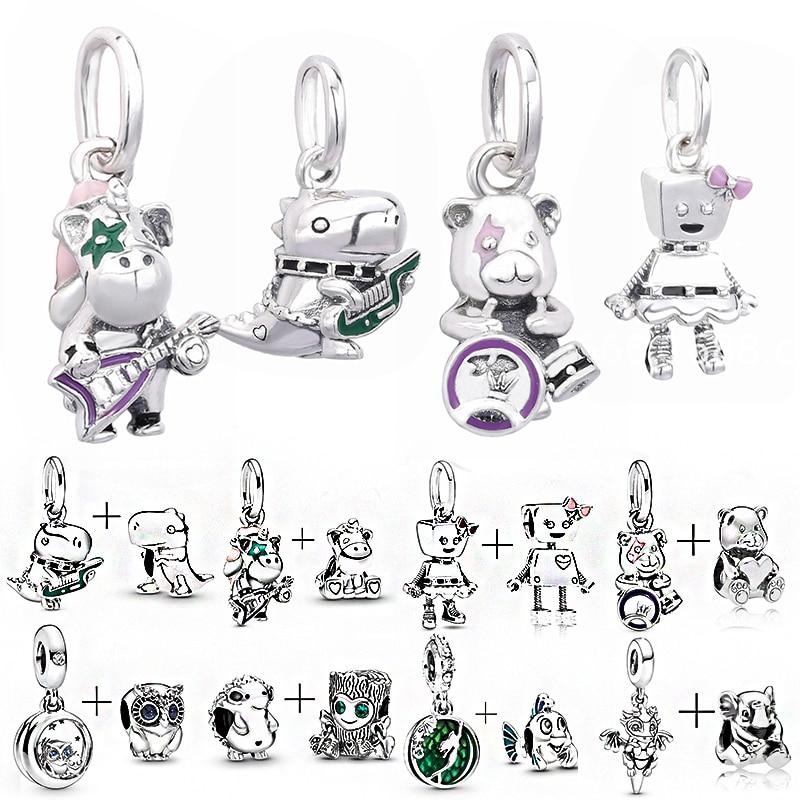 2 Pcs / Lot Punk Bella Dinosaur Band Charms Beads Fit Original Brand Charm Bracelets Necklaces For Woman DIY Making