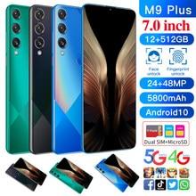 Model M9 plus, mtk6889, 10 core, 7.0 inch HD + 1440 * 3040, 4G, 5g network, 12gb + 512gb, 13mp + 24mp, true fingerprint, face re