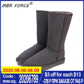 MBR FORCE Australia Classic Lady Shoes High Quality Waterproof Genuine Leather Snow Boots Fur Winter Boots Warm Women   Boots clax mens high boots genuine leather autumn casual motorcycle boots male shoe winter boot fur warm snow shoes