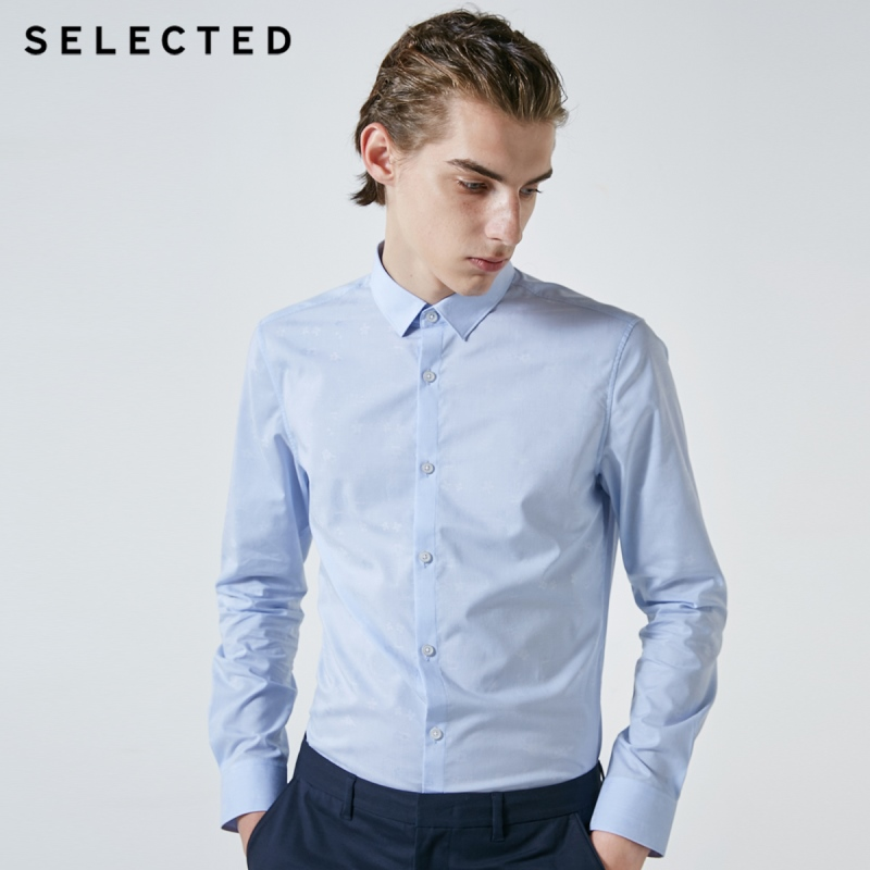 SELECTED Men's 100% Cotton Slim Fit Long-sleeved Shirt S|419105552
