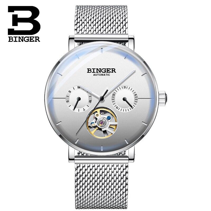 BINGER Mens Watches Top Brand Luxury Tourbillon Mechanical Watch Men Automatic Business Waterproof Sport Watch Relogio Masculino