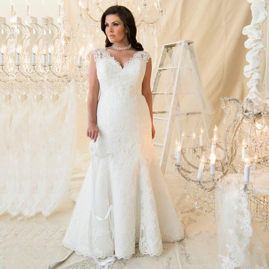 Robe De Mariage Cap Sleeve Lace Mermaid Wedding Dresses Plus Size V-neck Bridal Wedding Gowns Sweep Train Vestido De Noiva