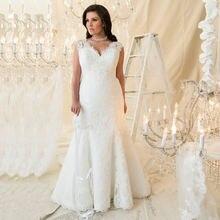 Женское свадебное платье с кружевной юбкой годе v образным вырезом