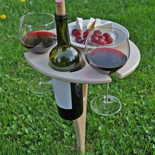 Foldable Wine Camping Table Minimalist Coffee Table Round Desktop Mini Wooden Picnic Table Wine Rack Indoor Outdoor Garden Table