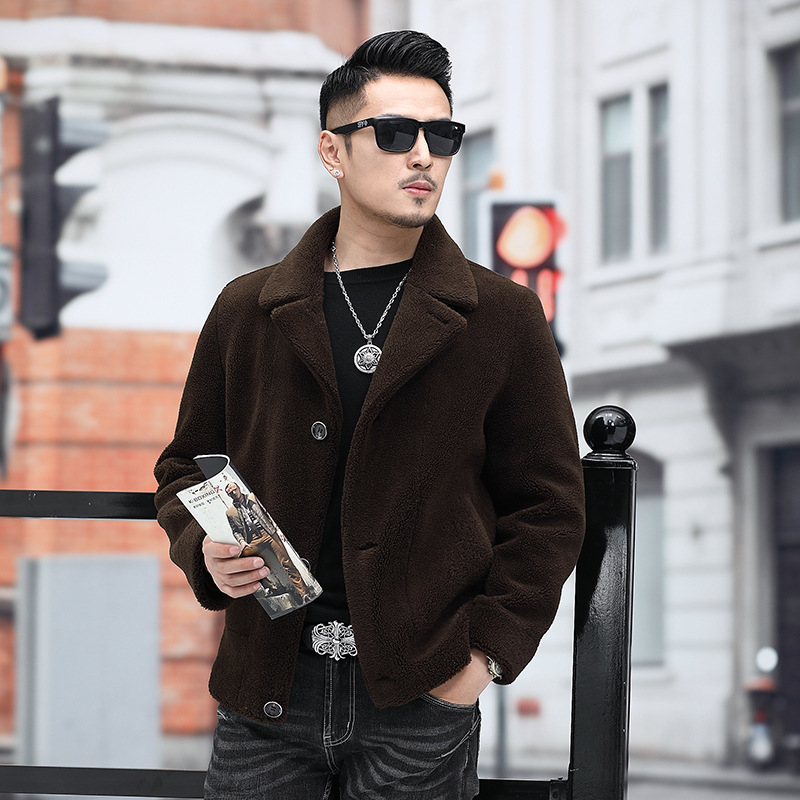 2020 Autumn Winter Jacket Real Fur Coat Men Short Sheep Shearing Wool Coats And Jackets Man Korean Casual 9807 KJ3121