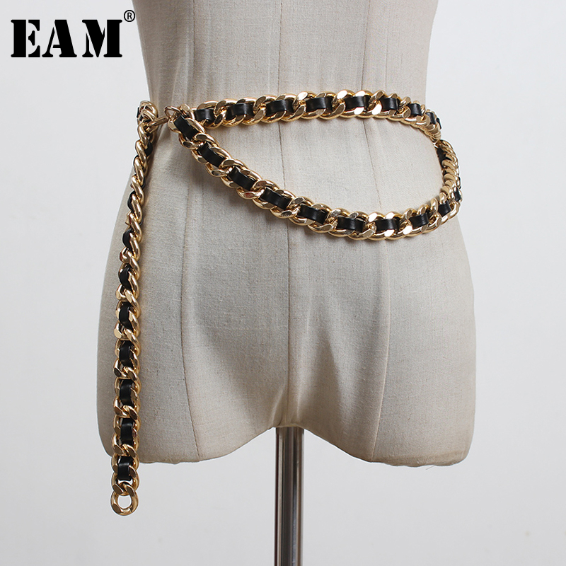 [EAM]  Pu Leather Black Metal Chain Split Joint Long Belt Personality Women New Fashion Tide All-match Spring 2020 1T186