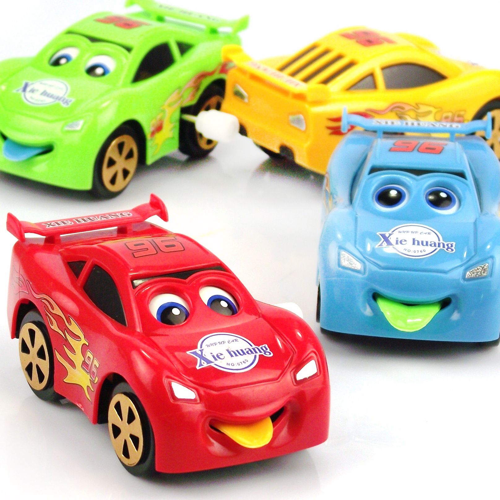 2685-Winding Car General Mobilization Automatic Turning Spring Car Toy Eyes Tongue Moving Car