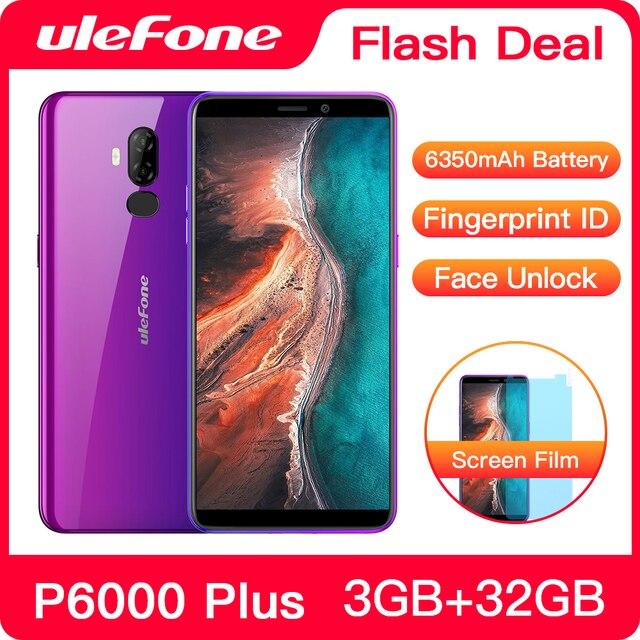 Ulefone P6000 Plus 6350 MAh Điện Thoại Thông Minh Android 9.0 6 Inch HD + Camera Kép Ouad Core 3GB 32GB điện Thoại Di Động 4G Di Động Điện Thoại Android
