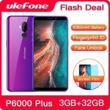 Ulefone P6000 Plus 6350mAh Smartphone Android 9.0 6 pouces HD + double caméra Ouad Core 3GB 32GB téléphone portable 4G téléphone portable Android