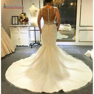 Image 2 - Sexy beading mermaid wedding dress with transparent nice back fish wedding dress