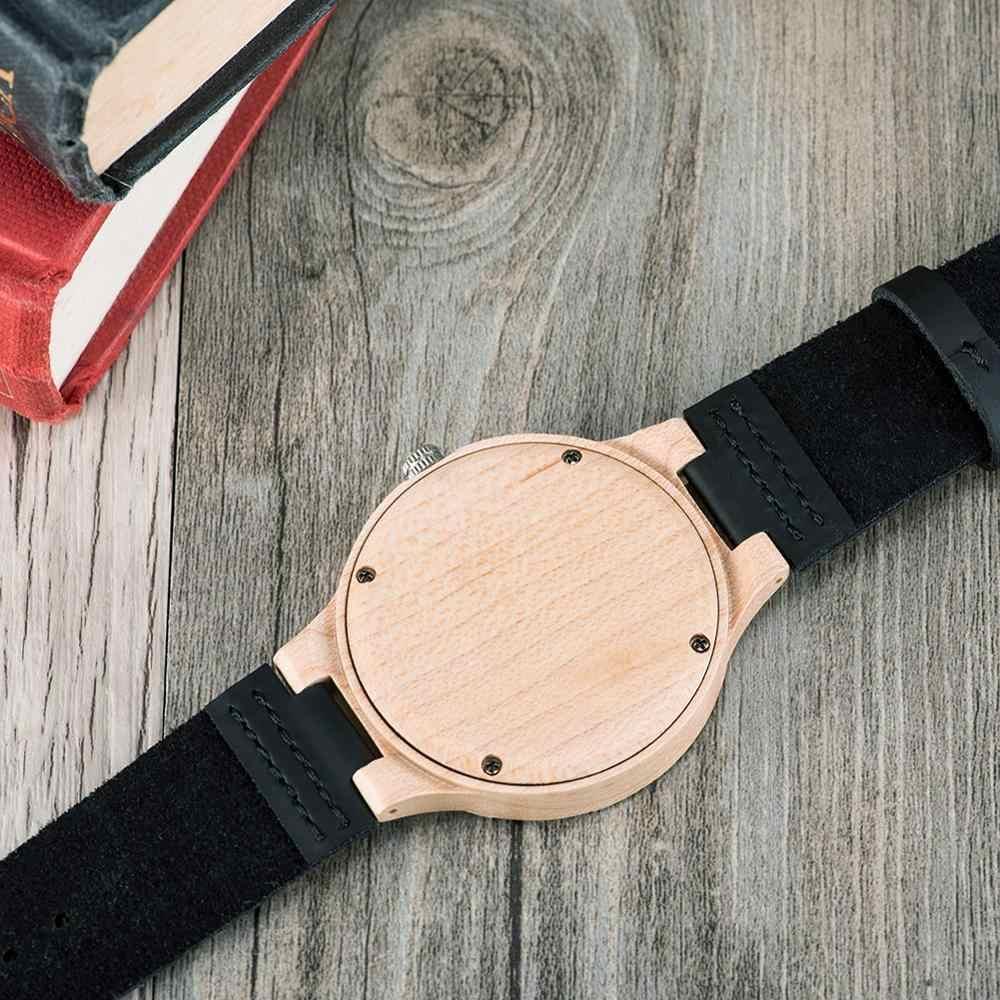 BOBO BIRD Casual drewniane zegarki dla mężczyzn Top marka luksusowy skórzany zegarek na rękę człowiek zegar moda zegarek relogio masculino OEM