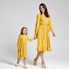 PatPat 2020 New Summer and Spring and Autumn Solid Bow-knot Matching Dresses For Mom and Me Baby Girl Mother(China)