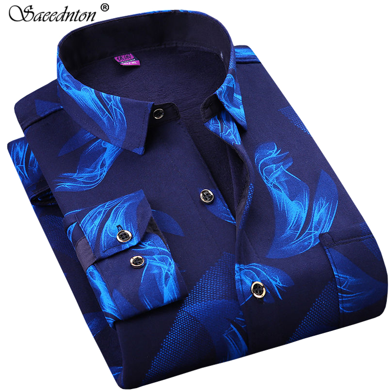 Big Size 5XL 6XL Business Casual Dress Shirt For Men 2019 Autumn Winter Men Long Sleeve Plus Velvet Warm Plaid Camisas Masculina