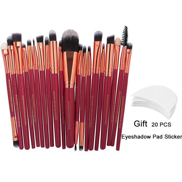 20 pièces maquillage pinceaux ensemble professionnel doux maquiagem marque pinceaux de maquillage outils rouge blanc noir maquillage brosse Maquiagem