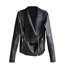 4XL Women's PU Leather Zipper Lapel Smooth Motorcycle Jackets Ladies Long Sleeve