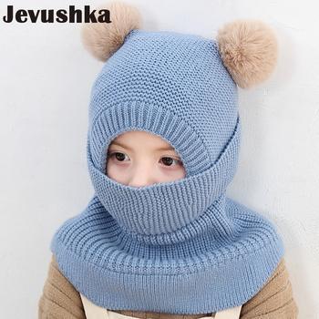 Nowa zimowa czapka dla niemowląt Pom Pom dzianiny dla dzieci czapka typu beanie dla dziewczynki i chłopca kapelusz maska szalik podwójne ciepłe podszewki czapki HT19027 tanie i dobre opinie Jevushka COTTON Akrylowe Unisex 10-12 miesięcy 13-18 miesięcy 19-24 miesięcy Cartoon Wyposażone