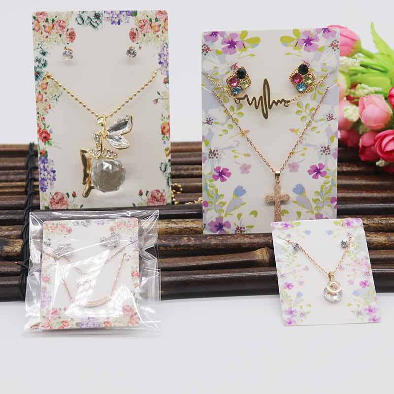 10pcs/lot Flower Pattern Necklace Earring Set Package Card Tag Large Jewelry Pendant /charms /drop Earrings Display Tag Card