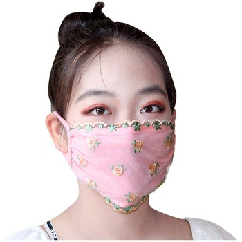 Fashion womens lace mouth reuse masks cute anti dust kawaii muffle face mask anti dust mask cover lace print face mouth mask