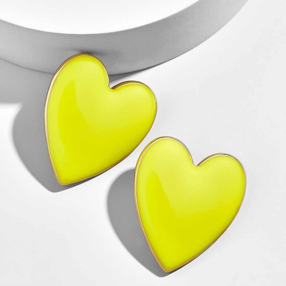 2020 Street สไตล์สีดำสีขาวสีชมพูสีเหลืองต่างหูตุ้มหูหัวใจ Minimalist เกาหลีแฟชั่น Love Heart ต่างหูเคลือบ