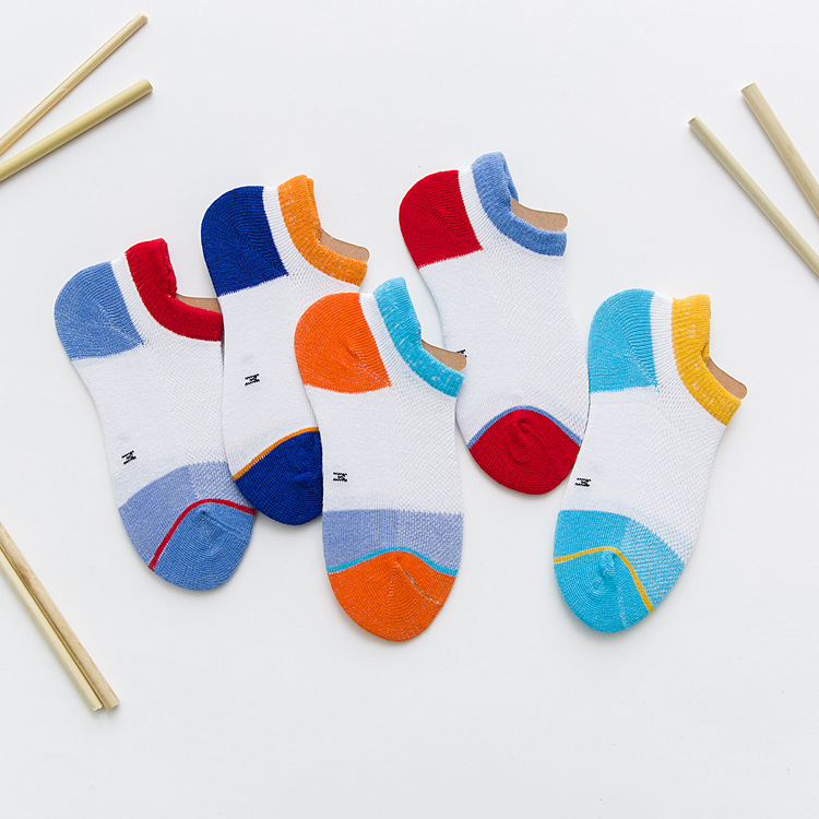 Summer Children Fishnet Stockings New Style Gao Pei Mian Men And Women Children Mixed Colors Ultra-Thin No-show Socks Relent Bre