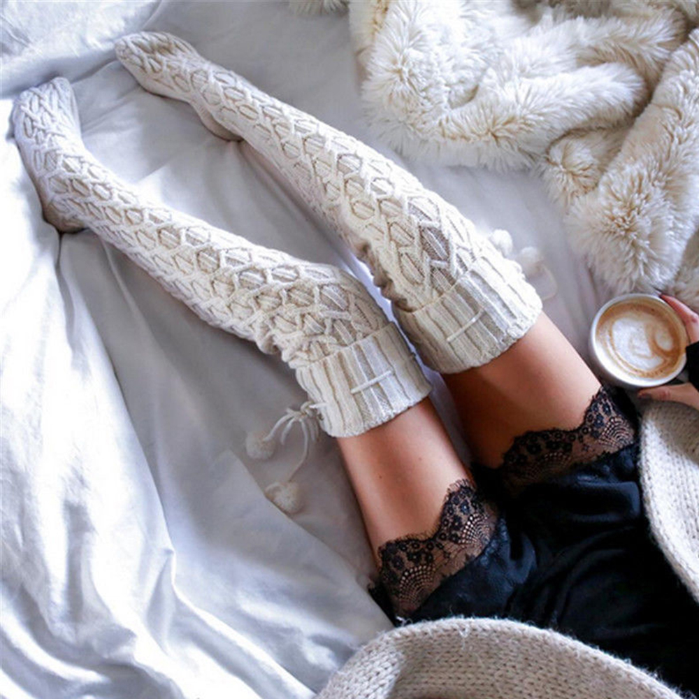 2019 Winter Warm Women Double Ball Long Boot Thigh-High Over Knee Leggings Sock Sexy Thick High Knitted Stockings D35