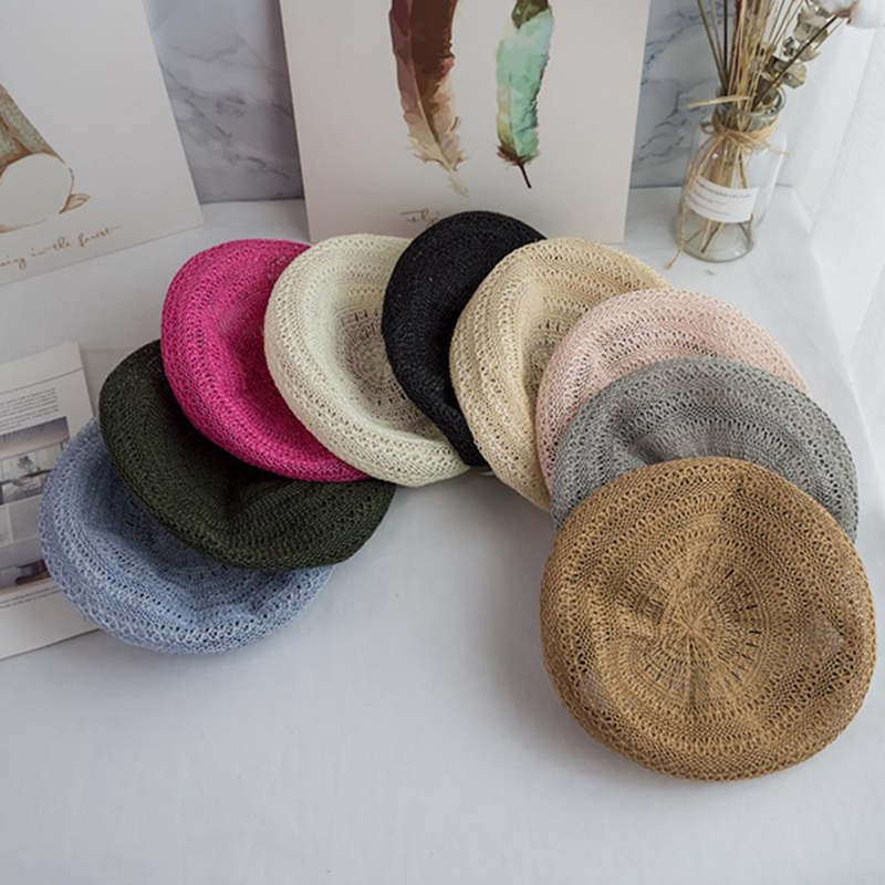 2019 Spring Summer French Berets Handmade Knitted Female Beret Women Blue Berets Hollow Breathable Painter Hat Student Berets
