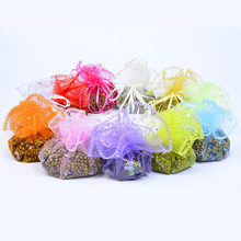 1000pcs/lot Organza Bags Round Sheer Drawstring Organza Gift Bags Candy Jewelry Pouches Christmas Party Favors Packaging Pouch 1000pcs high quality semicircle shaped black velvet pouch drawstring jewelry bags customized 8cm 10cm
