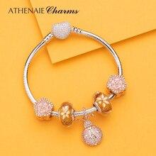 ATHENAIE autentico bracciale con ciondoli coccinella in oro Sterling 925 con perline con ciondolo a fiori CZ per donna regalo di gioielli san valentino