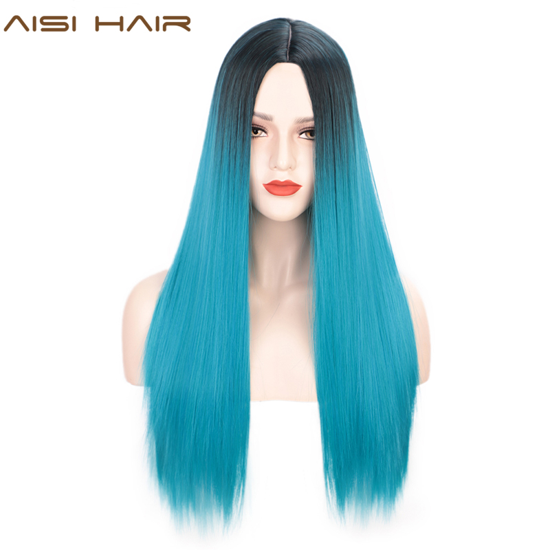 AISI HAIR Ombre Black And Blue Straight Long Wig Natural Synthetic Hair For Black Women Heat Resistant Fiber Cosplay Party Wigs