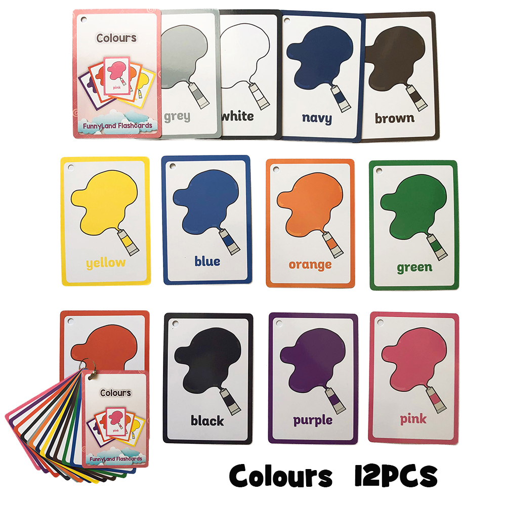 Montessori Colors English Animal Flash Card Pocket Cards Learning Educational Toys English Word Picture Match Game Baby Gift