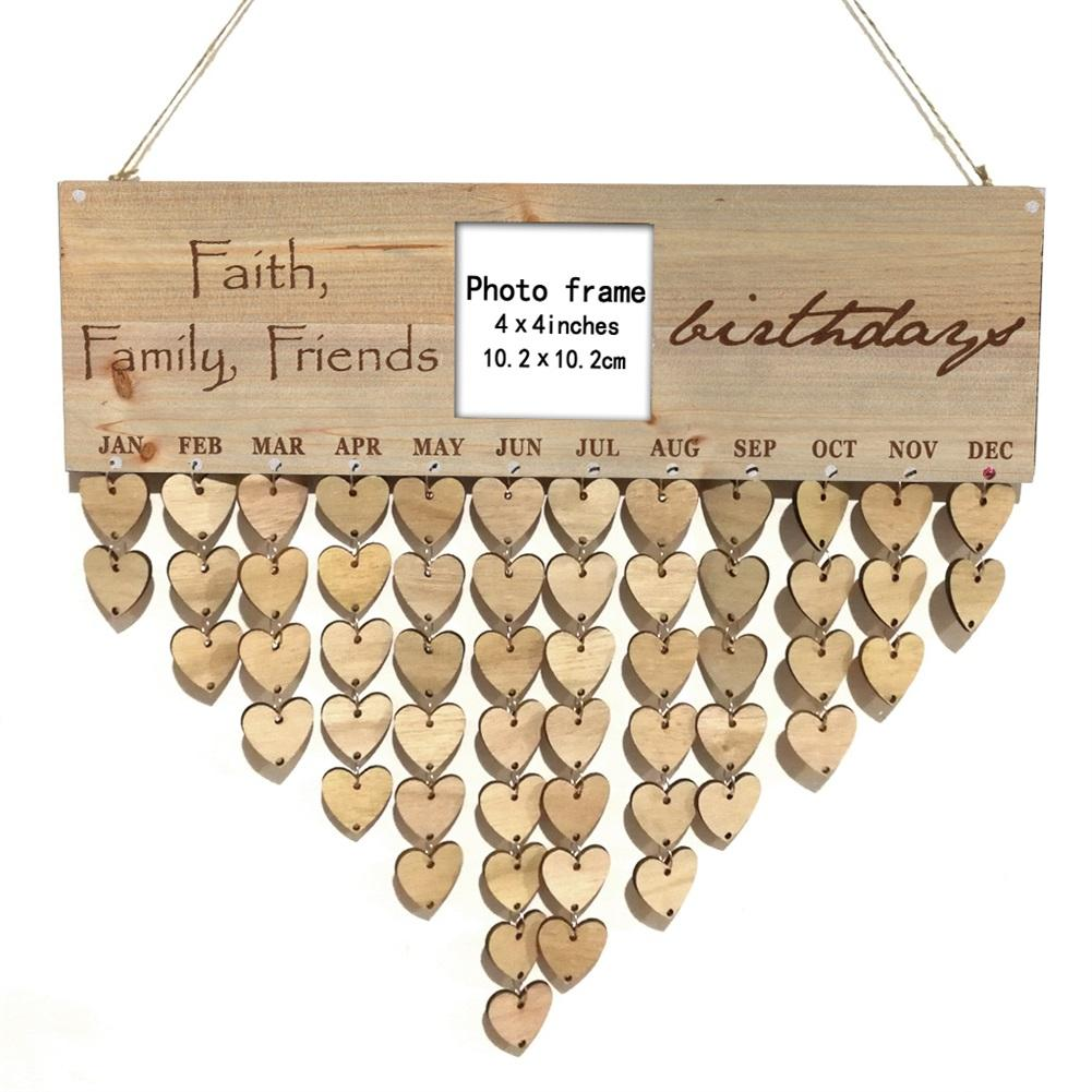 Family Birthday Reminder Calendar Wooden Board Love-shape Photo <font><b>Frame</b></font> Wall Hanging Birthday <font><b>Sign</b></font> Plaque For Family Decoration image