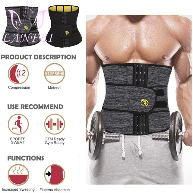 LANFEI Men Waist Trainer Slimming Belt Body Shaper Sweat Sauna Modeling Strap Workout Waist Trimmer Weight Loss Corset Plus Size 1